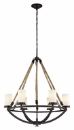 ELK 63042-6 Natural Rope Small Aged Bronze 6 Lamp Rustic Chandelier Lighting Fixture