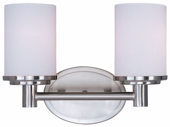 Maxim 9052SWSN Cylinder 2-light Small Satin Nickel Bath Lighting Fixture