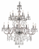 Trans Globe HU-18 PC Large 2 Tier Polished Chrome Crystal Chandelier Lamp