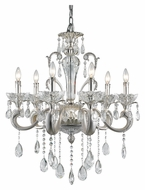 Trans Globe JB-6 SL Small 30 Inch Diameter 6 Candle Silver Chandelier