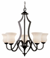 Trans Globe 3985 BK Traditional 27 Inch Diameter 5 Lamp Black Chandelier