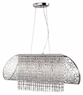 Trans Globe MDN-1129 Polished Chrome 5 Lamp Modern Island Lighting With Crystal Beads