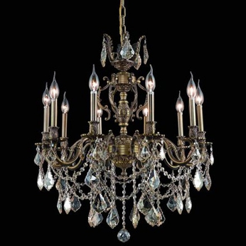 Elegant 9510D28AB-GS-RC Marseille 28  Antique Bronze Chandelier with Golden Shadow Crystals
