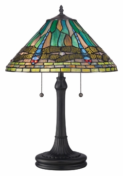 Quoizel TF1508TVB Tiffany Dragonfly Art Glass Vintage Bronze Table Light