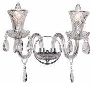 Trans Globe HX-2 PC 12 Inch Wide 2 Candle Crystal Wall Light Sconce