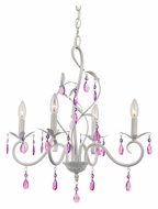 Trans Globe KDL-857 White 5 Candle Contemporary Chandelier With Purple Crystals