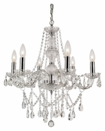 Trans Globe HU-6 PC Crystal 6 Candle 24 Inch Diameter Mini Chandelier