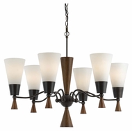 Cal FX-3528/6 Verona Large 28 Inch Diameter Modern Mahogany Chandelier - 6 Lamps