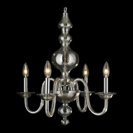 Worldwide W83170C18 Murano Small Golden Teak Candle Chandelier Lighting - Chrome