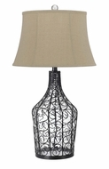 Cal BO-2458TB Palestine Wicker Finish 31 Inch Tall Fabric Bell Shade Table Lamp