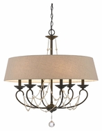 Cal FX-3532/6 Dawson 30 Inch Diameter 6 Lamp Oil Bronze Chandelier With Shade