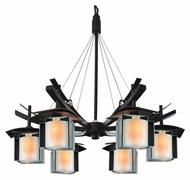Kalco 2989 Nijo 26 Inch Diameter Tawny Port 6 Light Asian Chandelier Lamp