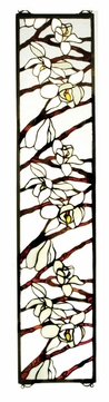 Meyda Tiffany 47887 Magnolia 23 Inch Tall Rectangular Stained Glass Window Décor