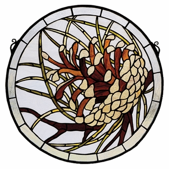 Meyda Tiffany 30448 Pinecone Medallion Tiffany Art Glass Wall Décor - 17 Inch Diameter