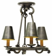 Kalco 6337 Fairford Vintage Iron Semi Flush Mount 3 Lamp Ceiling Lighting