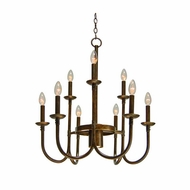 Kalco 2719 Bentham Natural Iron 10 Candelabra Chandelier Light Fixture - 25 Inch Diameter
