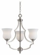 Cal FX-3531/3 Barrie Small 3 Lamp Brushed Steel Lighting Chandelier - Transitional