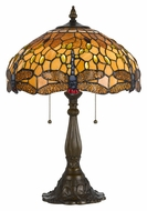 Cal BO-2372TB Dragonfly 23 Inch Tall Antique Brass Finish Tiffany Lamp