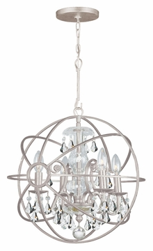 Crystorama 9025-OS-CL-MWP Solaris Small Olde Silver Clear Crystal Ball Cage Drop Lighting