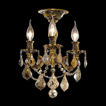 Elegant 9203F13FG-GT-RC Rosalia Golden Teak Crystal Candelabra Semi Flush Mount Overhead Lighting