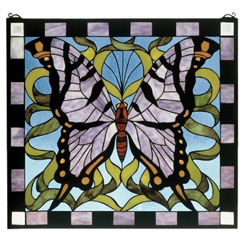 Meyda Tiffany 46464 Butterfly Stained Glass 23 Inch Tall Wall Décor