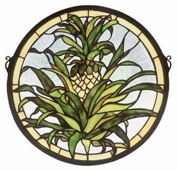 Meyda Tiffany 48550 Welcome Pineapple 16 Inch Diameter Circle Stained Glass Window Home Décor