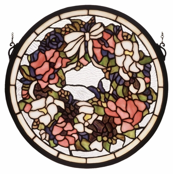 Meyda Tiffany 48324 Wreath & Garland Circular 15 Inch Diameter Stained Glass Wall Décor
