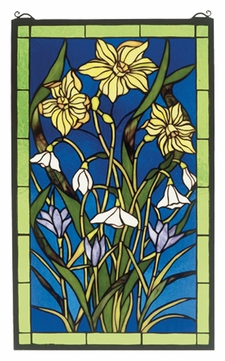 Meyda Tiffany 38738 Spring Bouquet 25 Inch Tall Stained Glass Wall Décor