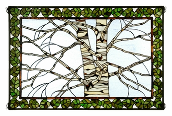 Meyda Tiffany 38538 Birch Tree In Winter 36 Inch Wide Stained Glass Table Top lamp