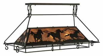 Meyda Tiffany 133883 Wild Horses 48 Inch Wide Silver Mica Kitchen Island Light Fixture With Pot