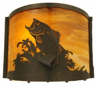 Meyda Tiffany 139810 Leaping Bass 11 Inch Wide Rustic Wall Lighting Sconce
