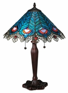 Meyda Tiffany 138775 Peacock Feather Lace 23 Inch Tall Pull Chain Table Lighting