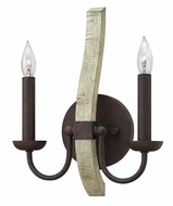 Fredrick Ramond FR40572IRR Middlefield Iron Rust 2 Candle 16 Inch Tall Lighting Sconce With Wood Accent
