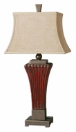Uttermost 26465 Rosso Dark Red 36 Inch Tall Ribbed Ceramic Lamp Lighting