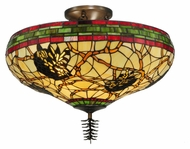 Meyda Tiffany 139874 Burgundy Pinecone 24 Inch Diameter Tiffany Semi Flush Lighting Fixture