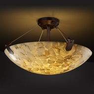Justice Design ALR-9612-35 U-Clips Round Bowl 27 Inch Diameter Semi Flush Lighting - Alabaster Glass