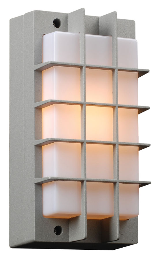 PLC 2119 SL Lorca Exterior Silver Grid Wall Lighting. Loading Zoom
