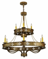 Meyda Tiffany 137956 Byzantine 37 Inch Diameter Traditional 9 Light Candle Chandelier