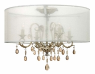 Hinkley 4771SL Carlton 4 Lamp Silver Leaf 24 Inch Diameter Chandelier With Shade