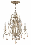 Hinkley 4774SL Carlton 18 Inch Diameter Silver Leaf 4 Candle Mini Chandelier Lamp