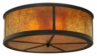 Meyda Tiffany 141167 Smythe Craftsman Amber Mica Flush Lighting - Oil Rubbed Bronze