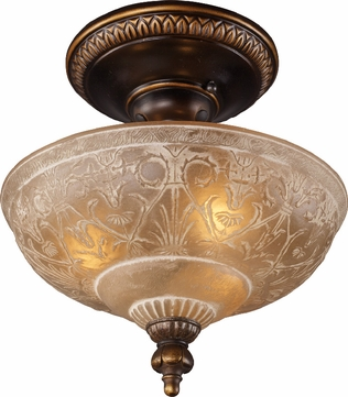 ELK 08100-AGB Restoration 3 Light 12 inch Semi Flush Ceiling Fixture