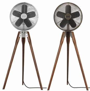Fanimation Fans FP8014 Arden Tripod Oscillating Floor Fan in Oil-rubbed Bronze or Satin Nickel with Walnut Legs