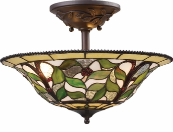 ELK 08015-TBH Latham 3 Light Rustic Semi Flush Ceiling Fixture