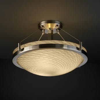 Justice Design FSN968135 Fusion Semi-flush Large 18  Round Bowl with Ring Ceiling Light - Sloped Ceiling Option Available