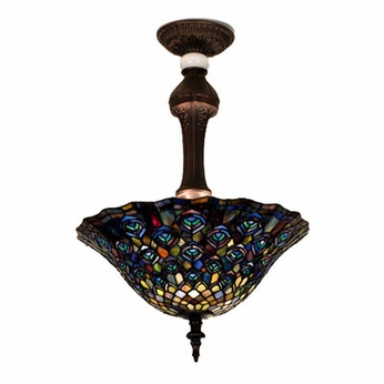 Meyda Tiffany 31101 Peacock 20 inches wide Tiffany Semiflush Mount Ceiling Light
