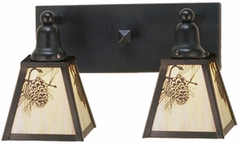 Meyda Tiffany 52460 Craftsman 2 Light Bath Wall Lighting Fixture