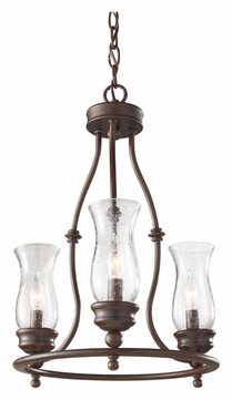 Feiss F2782/3HTBZ Pickering Lane 3 Lamp Heritage Bronze Finish Mini Chandelier Light Fixture