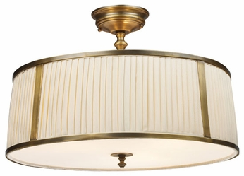 ELK 11055-4 Williamsport Semi Flush Ceiling Light with Large Fabric Shade