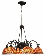 Meyda Tiffany 140489 Tiffany Fishscale 6 Lamp 32 Inch Diameter Downlight Chandelier
